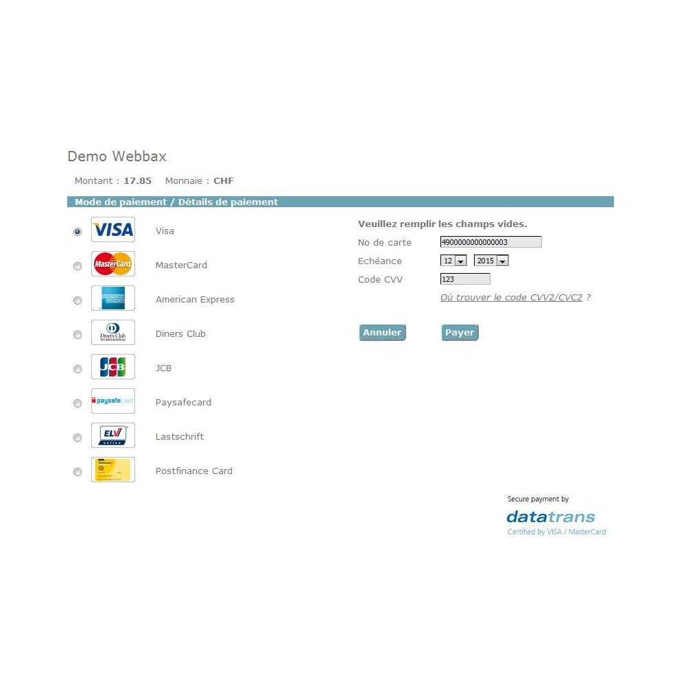 module - Paiement par Carte ou Wallet - Datatrans - Prestashop 1.5 & 1.6 - 5