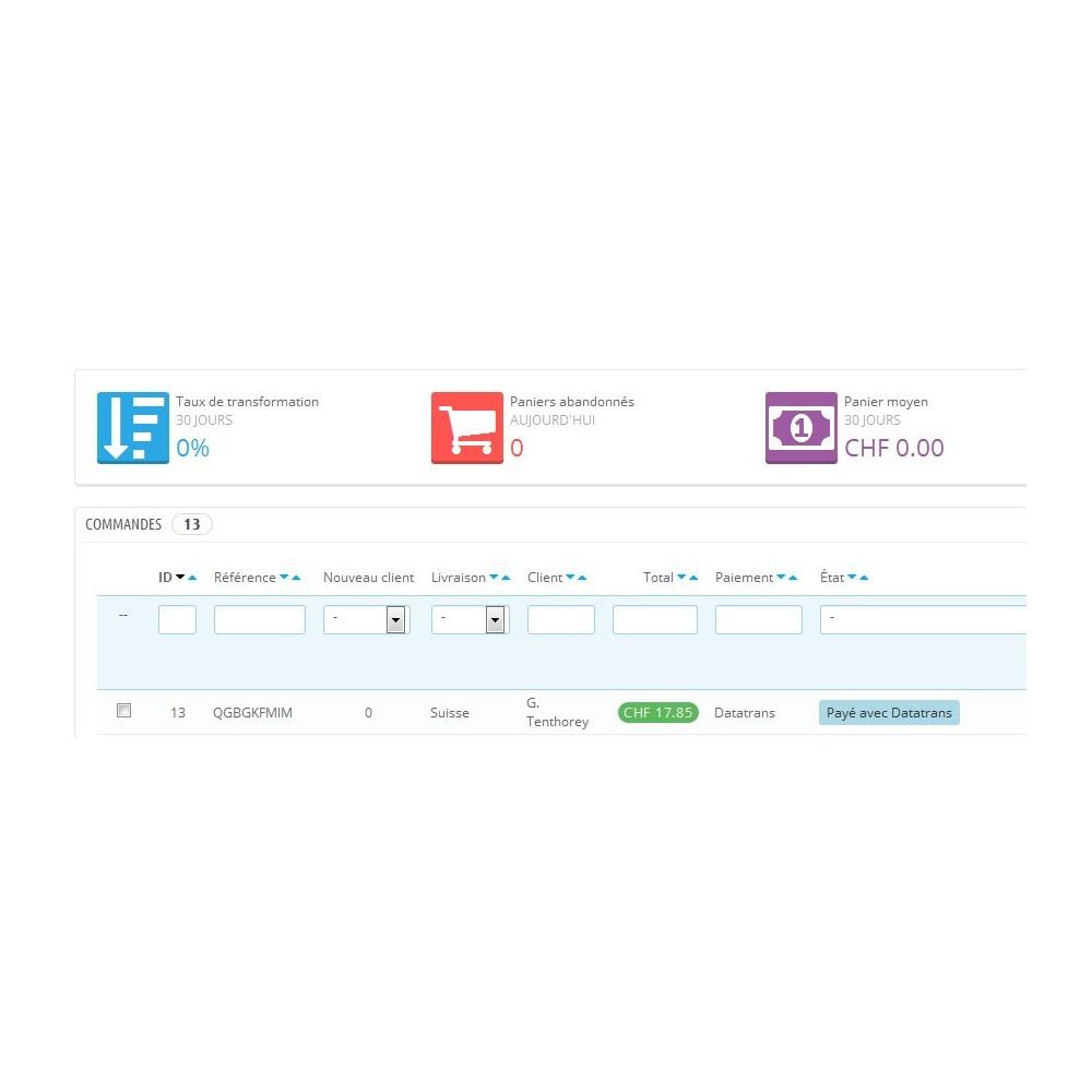 module - Paiement par Carte ou Wallet - Datatrans - Prestashop 1.5 & 1.6 - 8