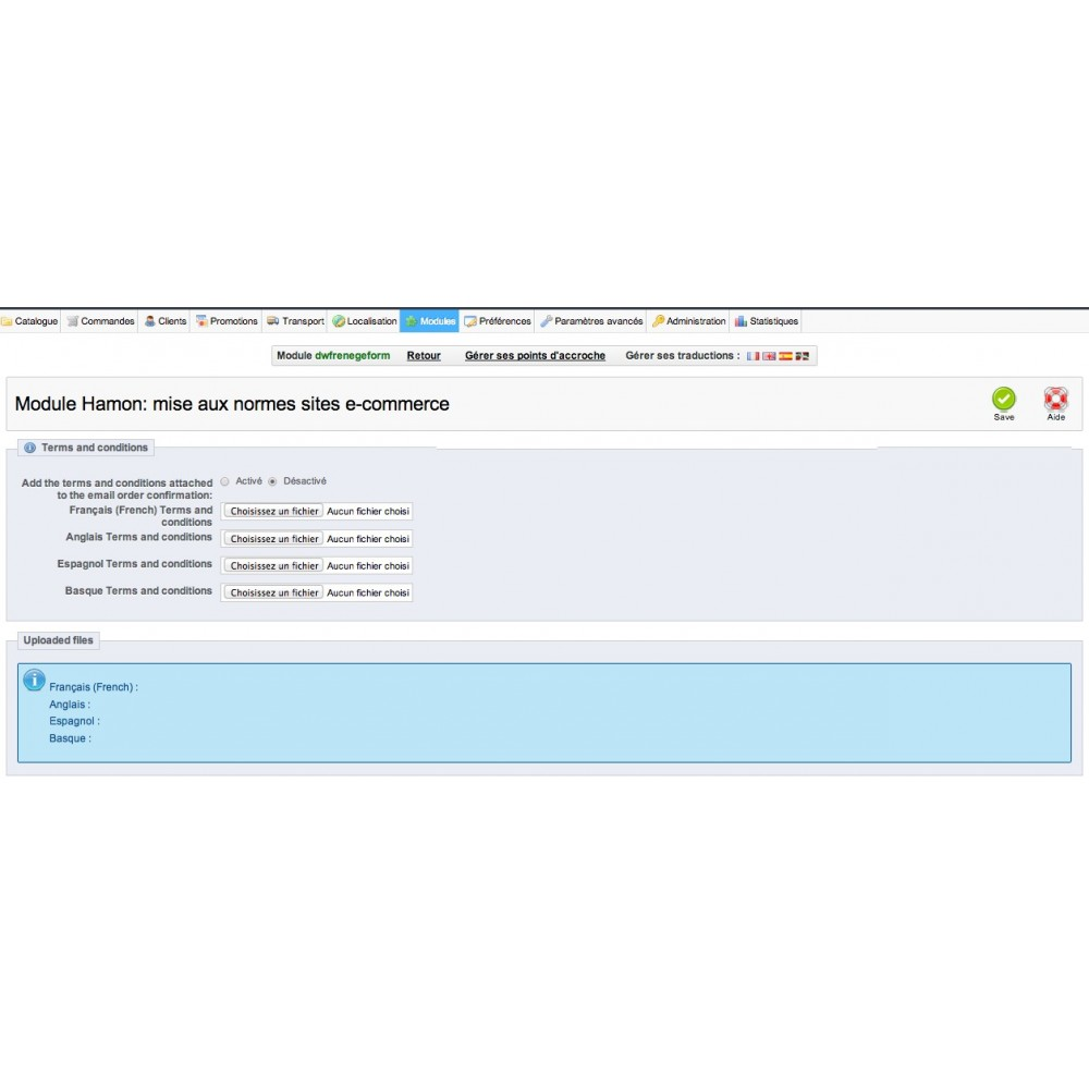 module - Législation (Loi Hamon) - Hamon gestion complète : rétractation + CGV en PJ - 5