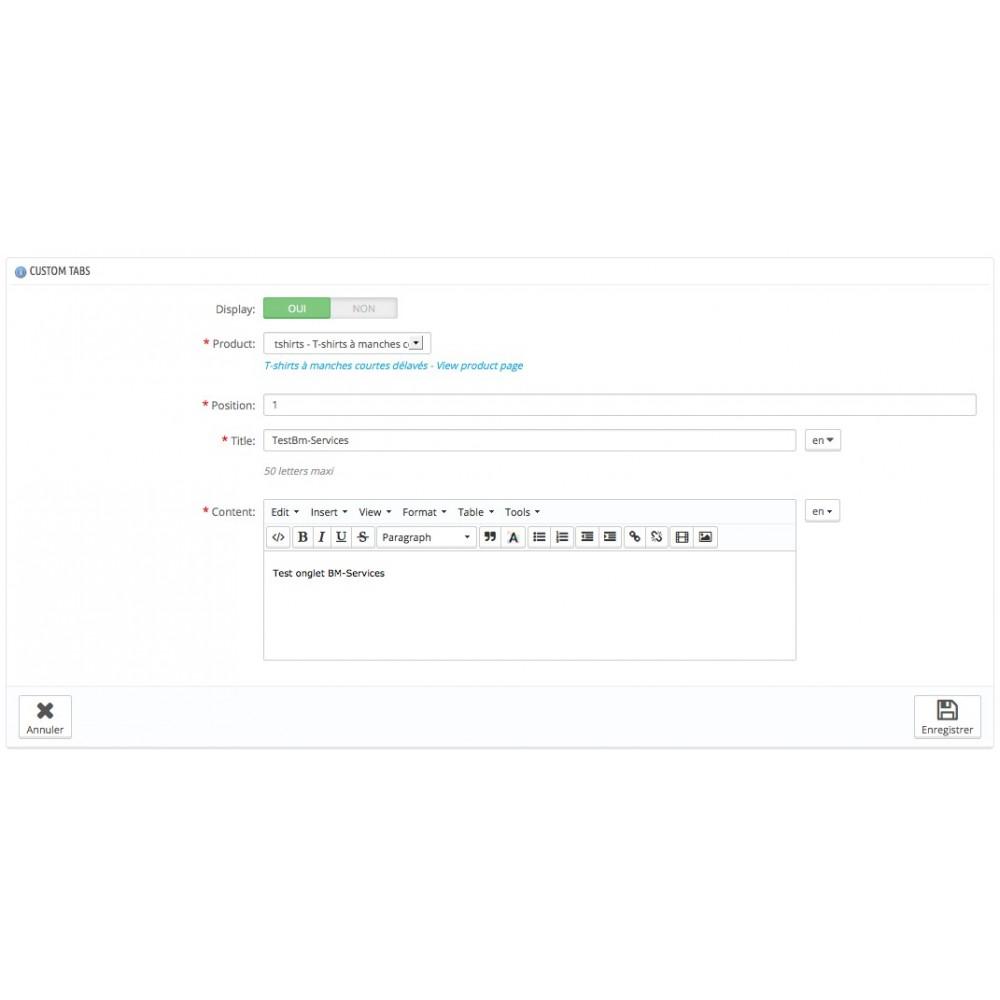 module - Information supplémentaire & Onglet produit - Onglets produits personnalisés - 6