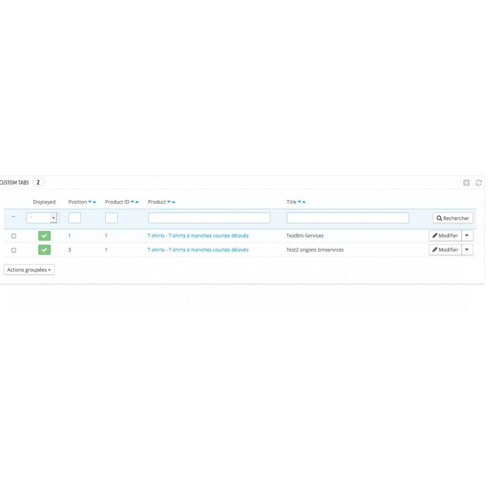 module - Information supplémentaire & Onglet produit - Onglets produits personnalisés - 7