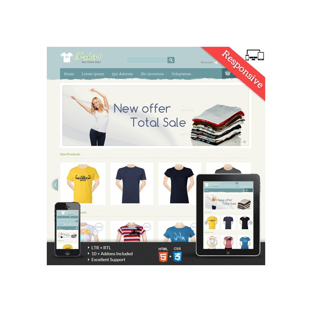 theme - Mode & Schuhe - T-shirt Prestashop Theme - PRS040081 - 1
