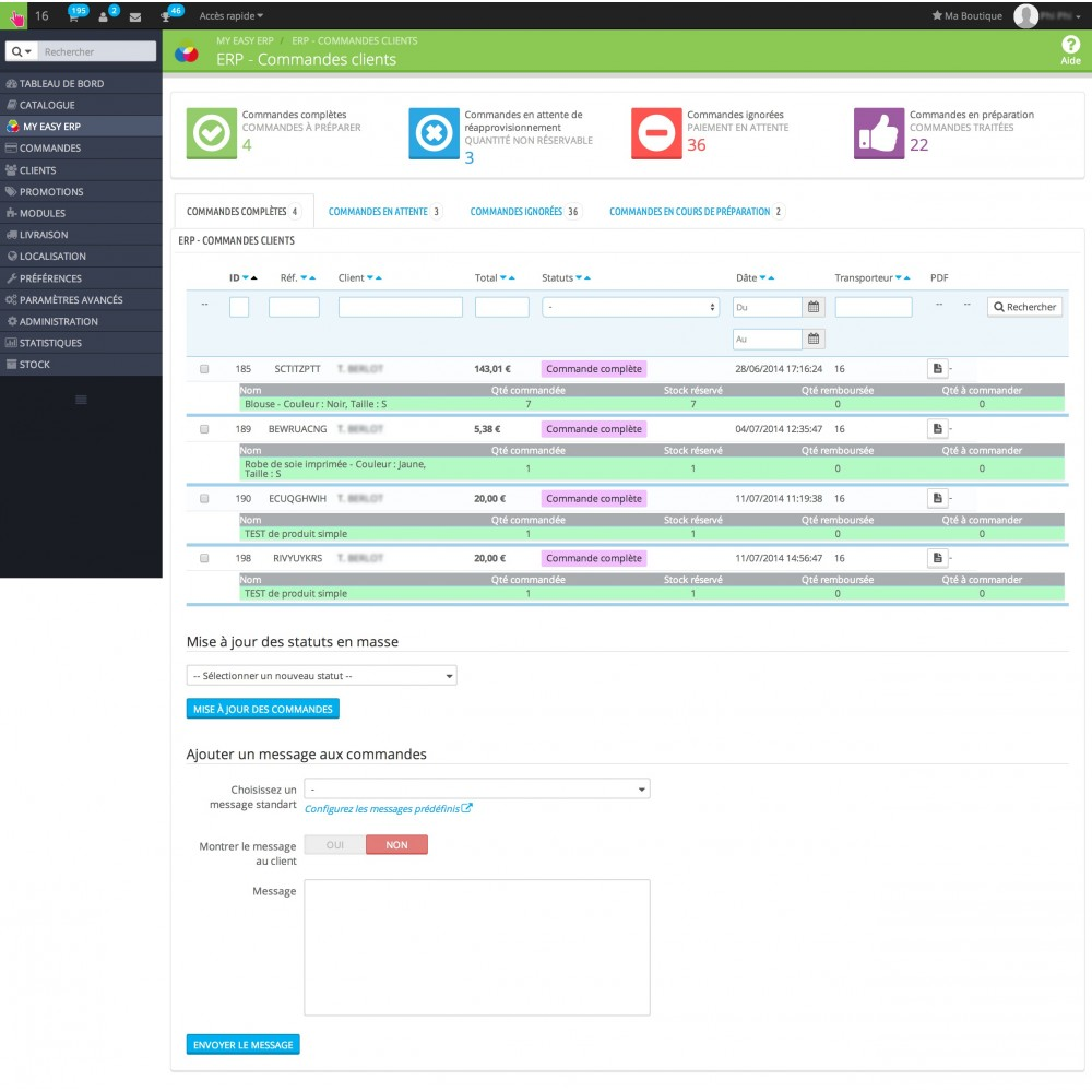 module - Connexion à un logiciel tiers (CRM, ERP...) - My Easy ERP - 13