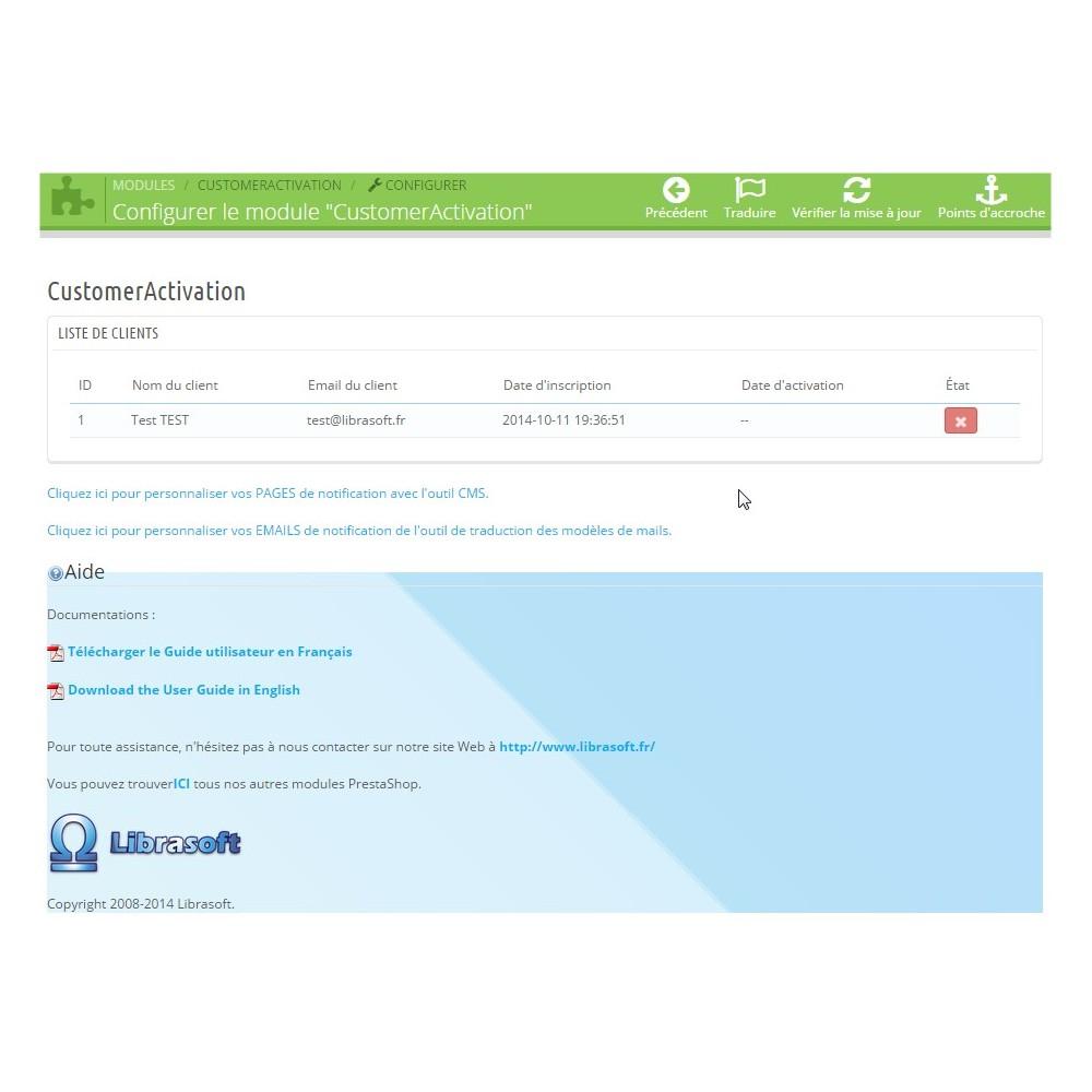 module - Gestion des clients - Customer Activation / Activation Compte Client - 1
