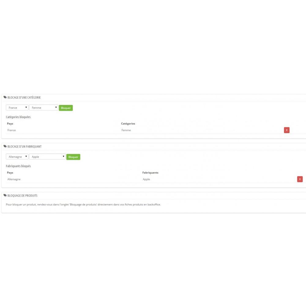 module - Inscription & Processus de commande - Restrictions de produits par pays - 2