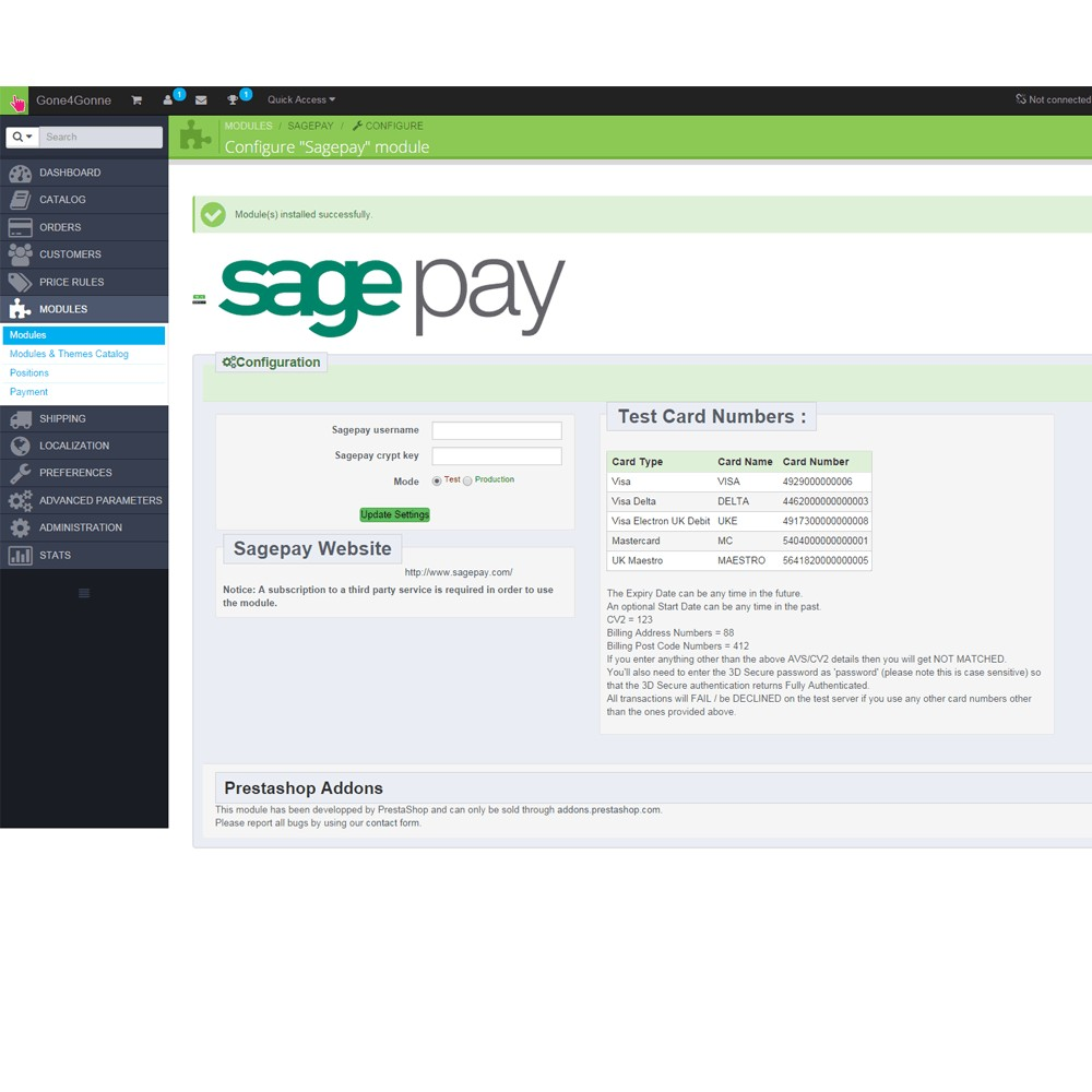 module - Payment by Card or Wallet - Sage Pay Go - 2