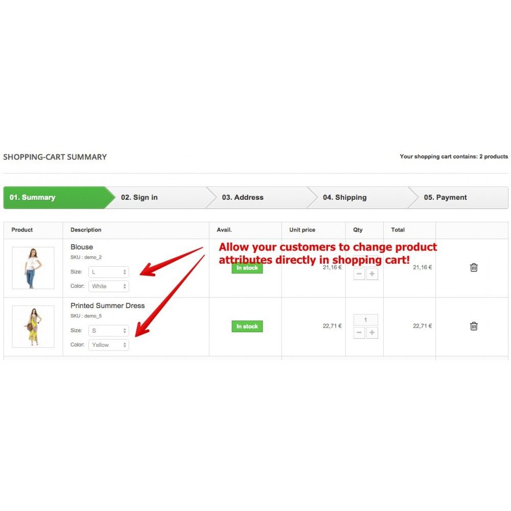 module - Inscription & Processus de commande - Update attributes & combinations in cart - 2