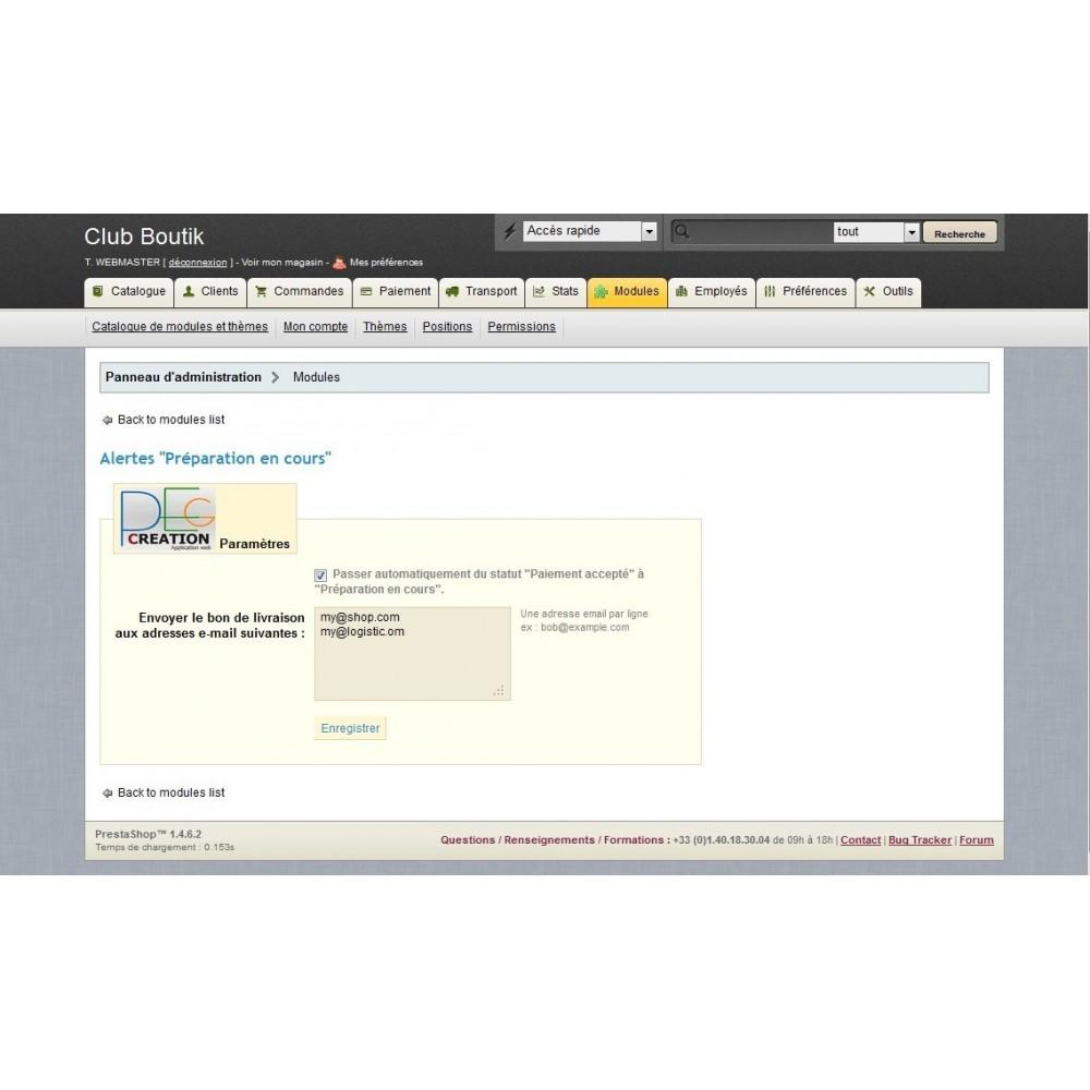 module - Gestion des Commandes - Alertes - Préparation en cours - 2