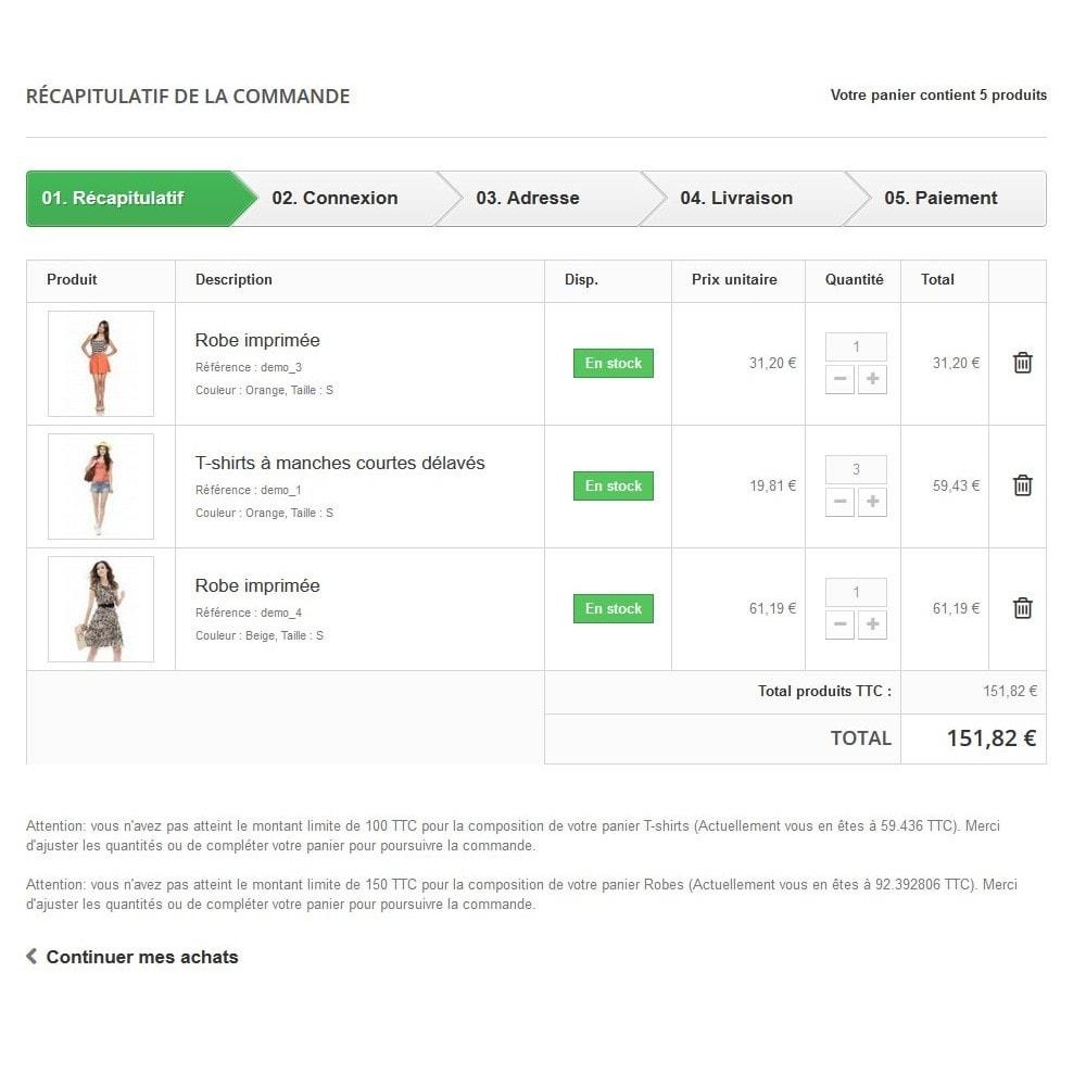 module - Inscription & Processus de commande - Minimum de commande pour plusieurs catégories - 3