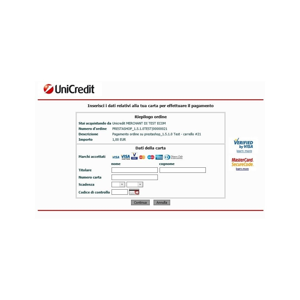 module - Payment by Card or Wallet - Unicredit PagOnline Imprese - 16