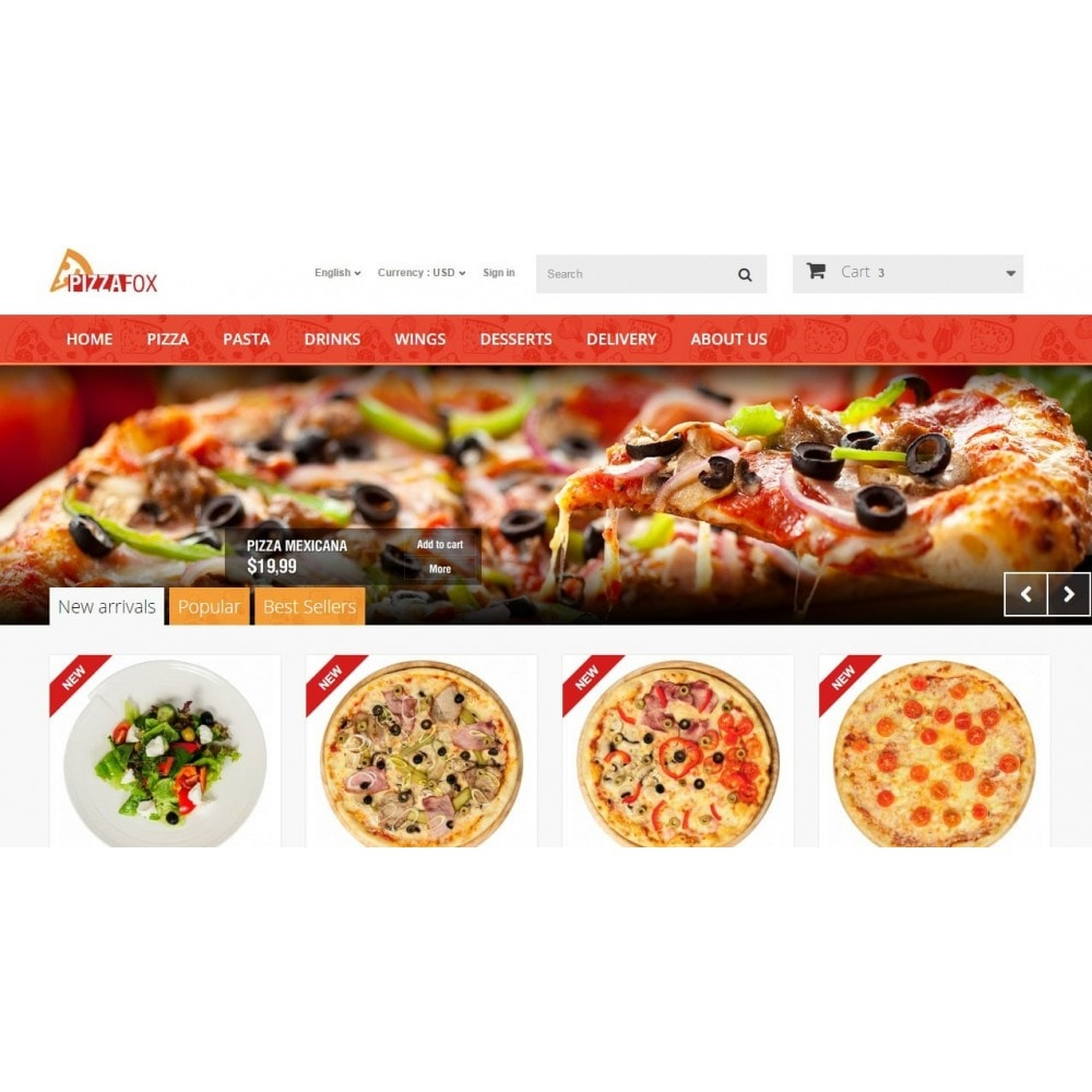 theme - Food & Restaurant - Pizza Fox Prestashop 1.6 Responsive Template - 3