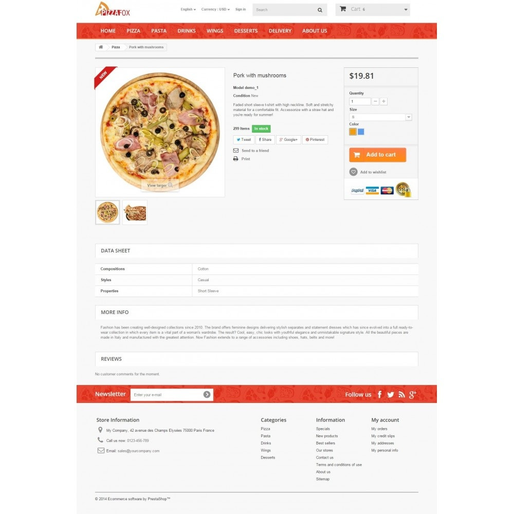 theme - Food & Restaurant - Pizza Fox Prestashop 1.6 Responsive Template - 8