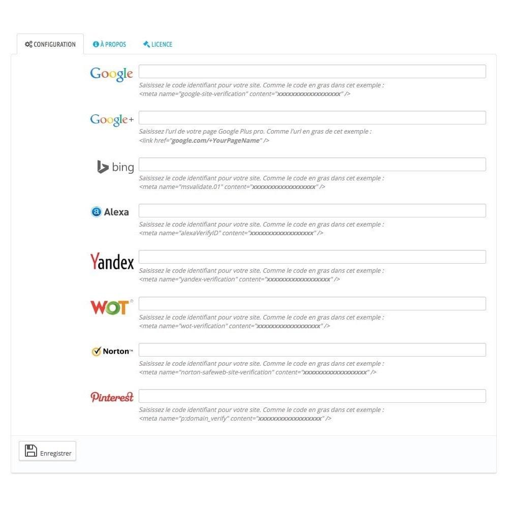 module - SEO (référencement naturel) - Intégration codes de vérification des outils webmasters - 3