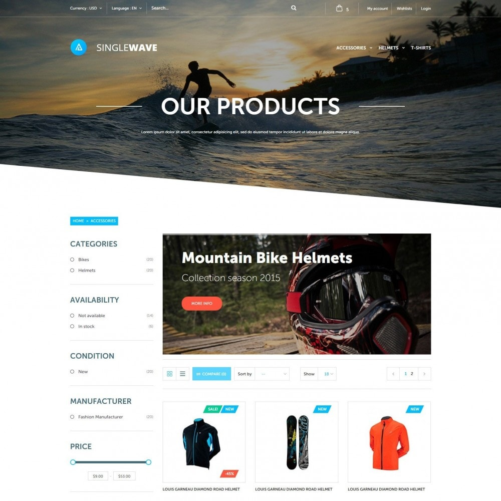 theme - Sports, Activities & Travel - Singlewave - Sport Store - 2