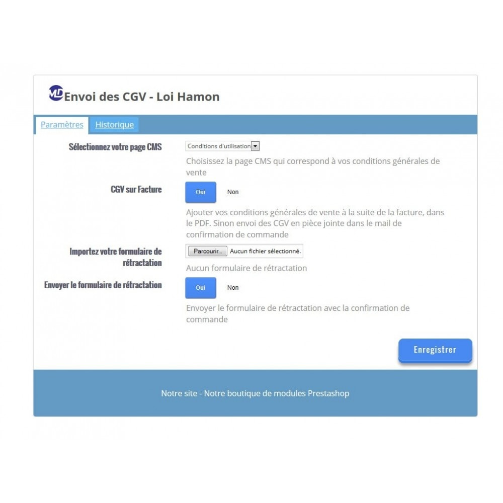 module - Législation - Envoi automatique des conditions générales de vente - 1
