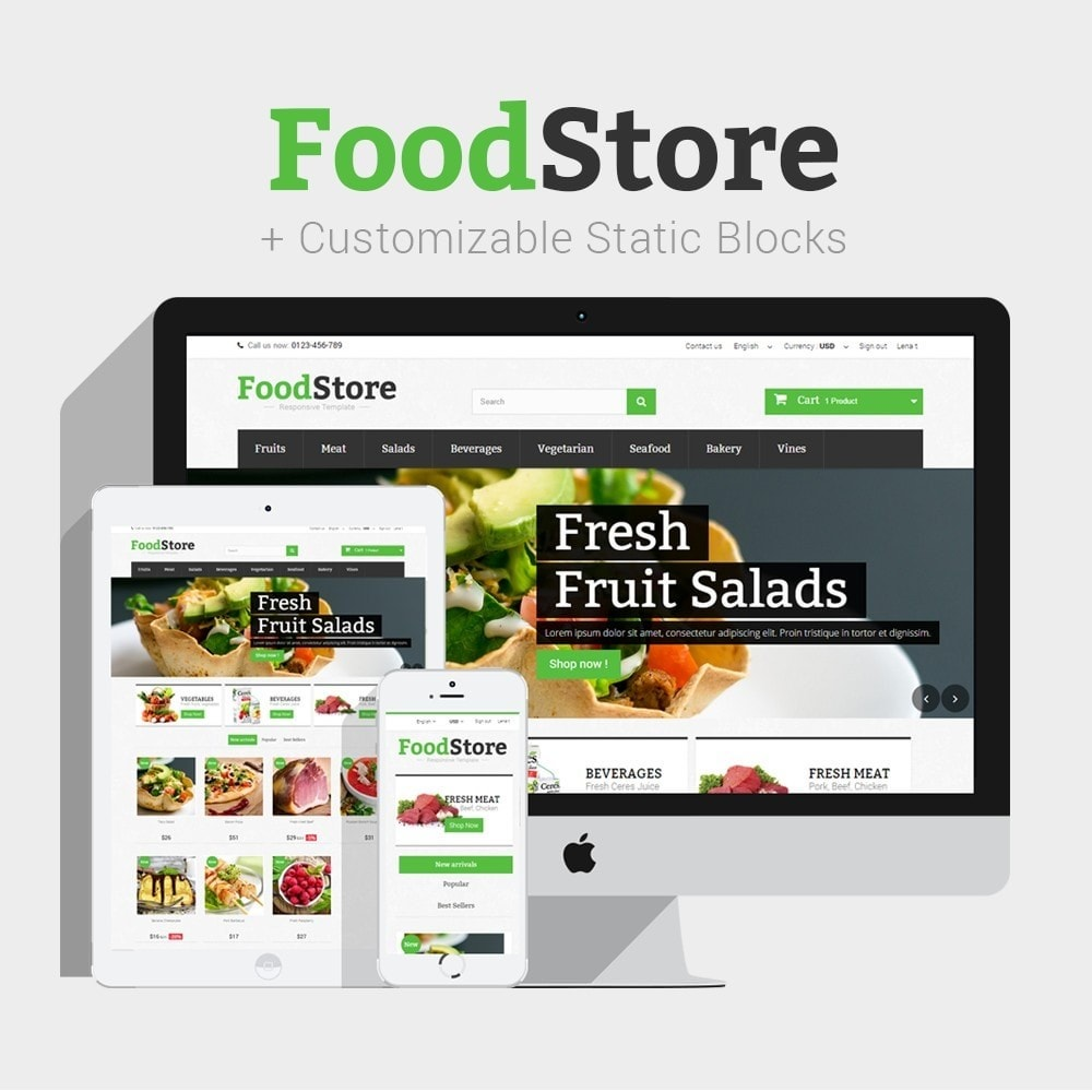 theme - Lebensmittel & Restaurants - Food Store Prestashop 1.6 Responsive - 1