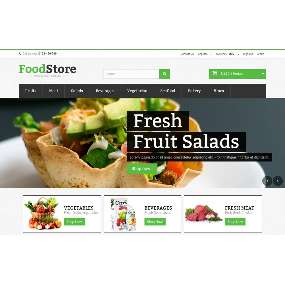 theme - Alimentation & Restauration - Food Store Prestashop 1.6 Responsive - 3