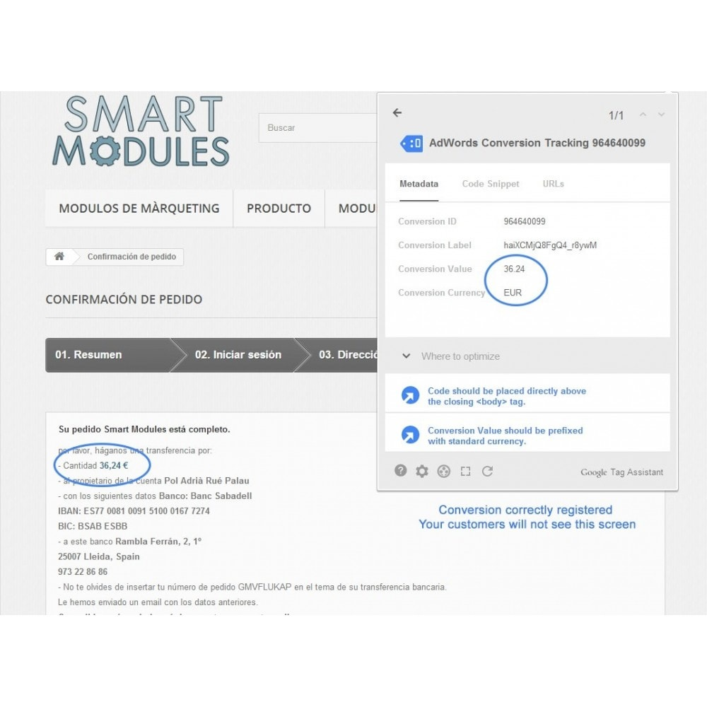module - Remarketing & Carrelli abbandonati - Modulo conversioni per Google Adwords - Smart Module - 5