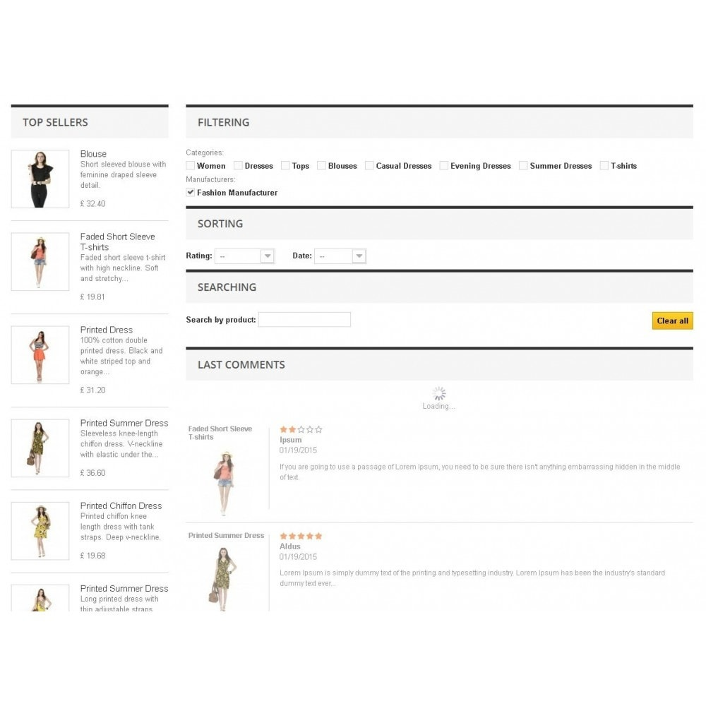 module - Comentarios de clientes - List of products comments with filter options - 3