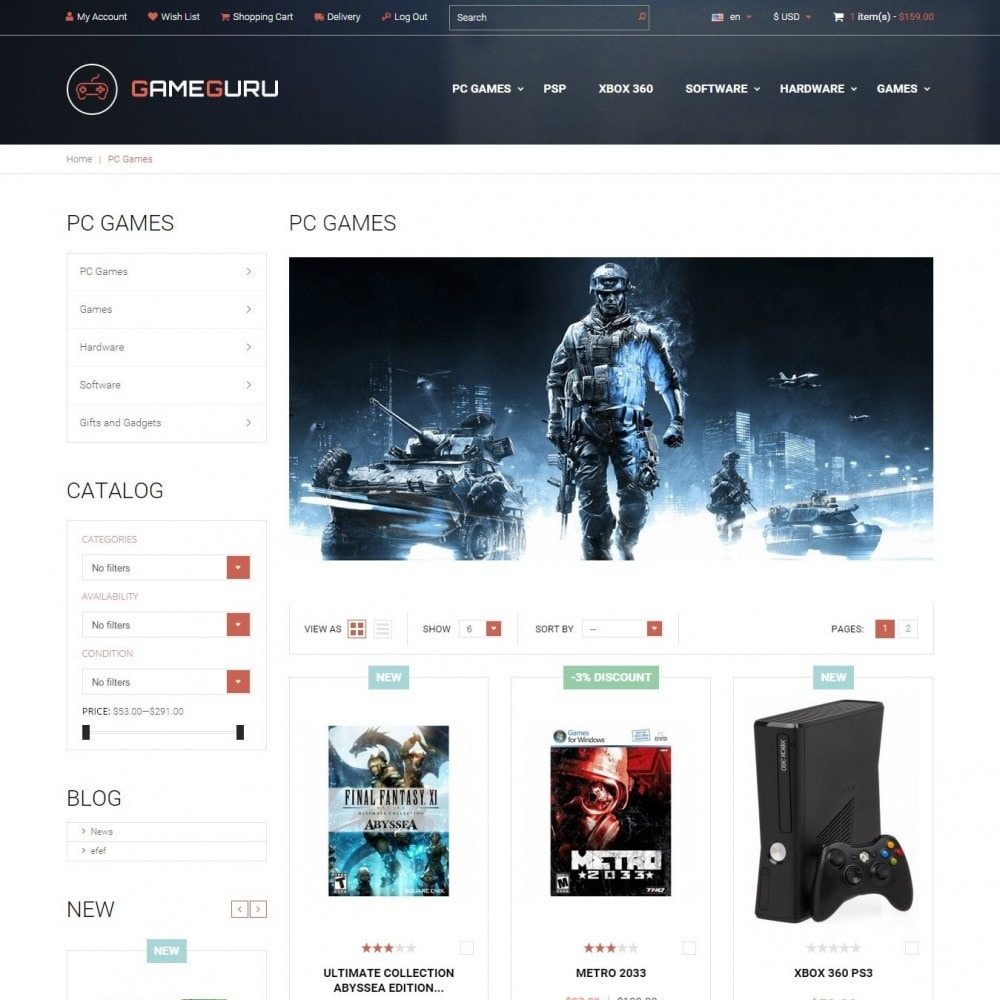 theme - Electronics & Computers - Gameguru - Play Games Store - 2
