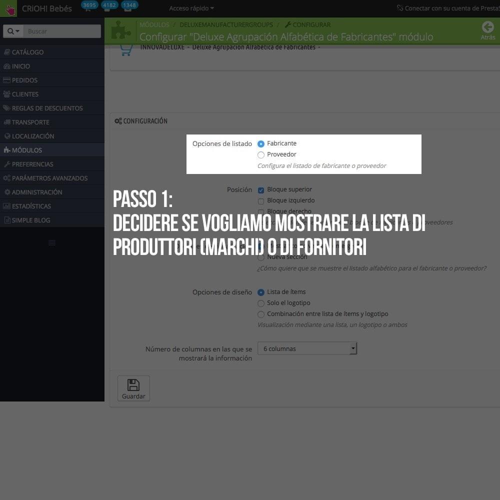 module - Ricerche & Filtri - Motore di ricerca alfabetico di marchi o fornitori - 3