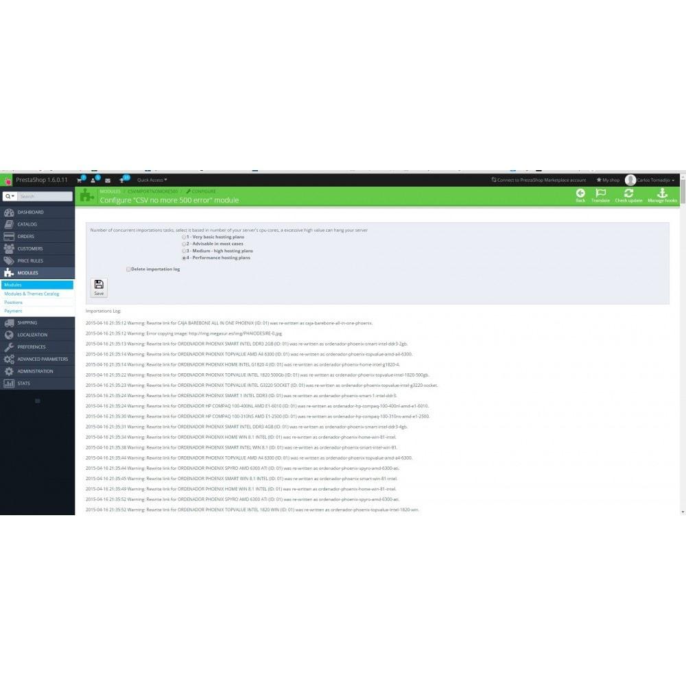 module - Importación y Exportación de datos - CSV Import no more 500 errors - 5