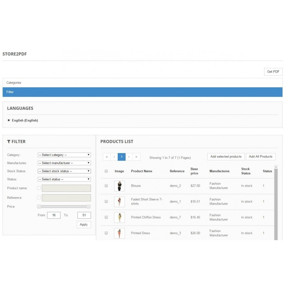 module - Importação & exportação de dados - Store2PDF - 2