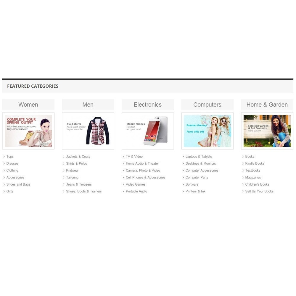 module - Produits en page d'accueil - Zero Featured Categories - Thumbnail & Subcategories - 5