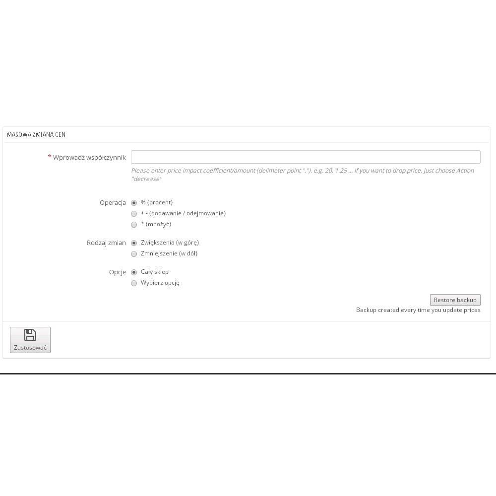 module - Szybkie & Masowe edytowanie - Moduł masowej zmiany cen - 1