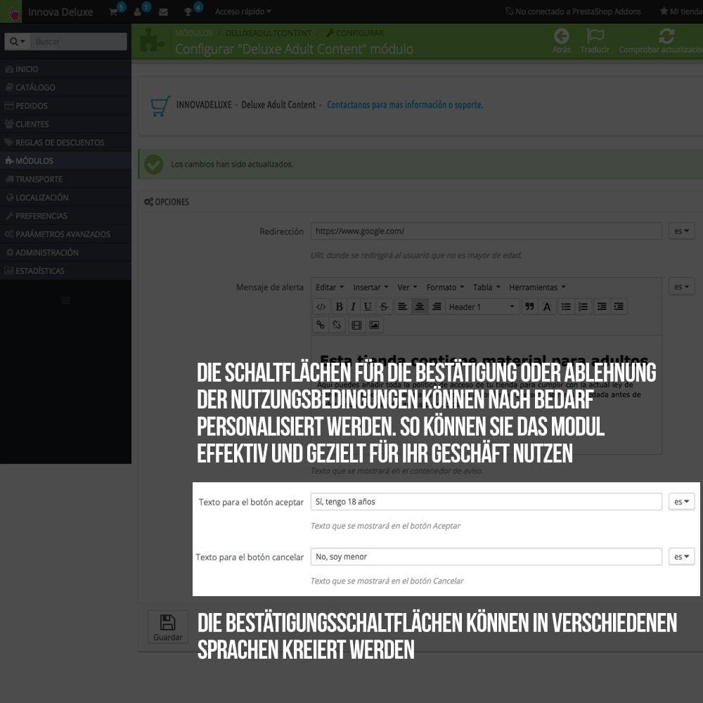 module - Sicherheit & Brechtigungen - Warnhinweis für jugendgefährdende Inhalte - 5