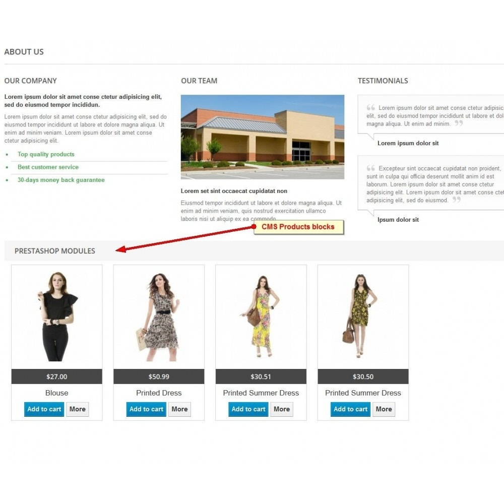module - Producten op de homepagina - Products On CMS - 2