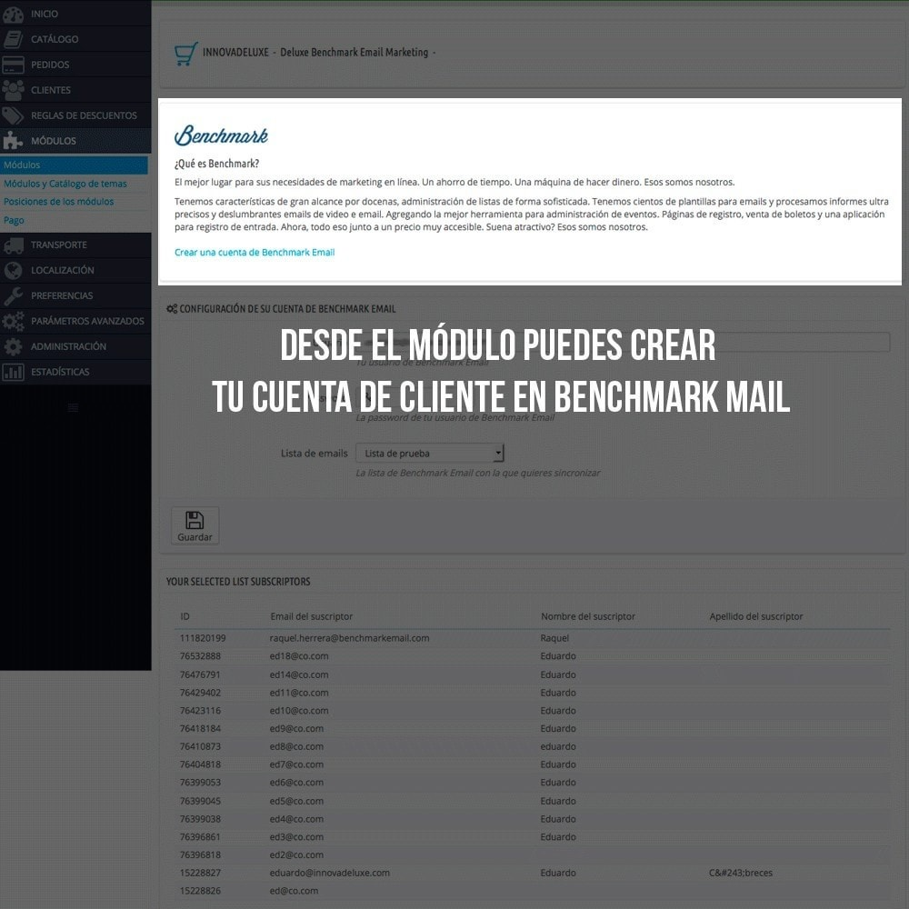 module - E-mails y Notificaciones - Integración con Benchmark Email Marketing - 3