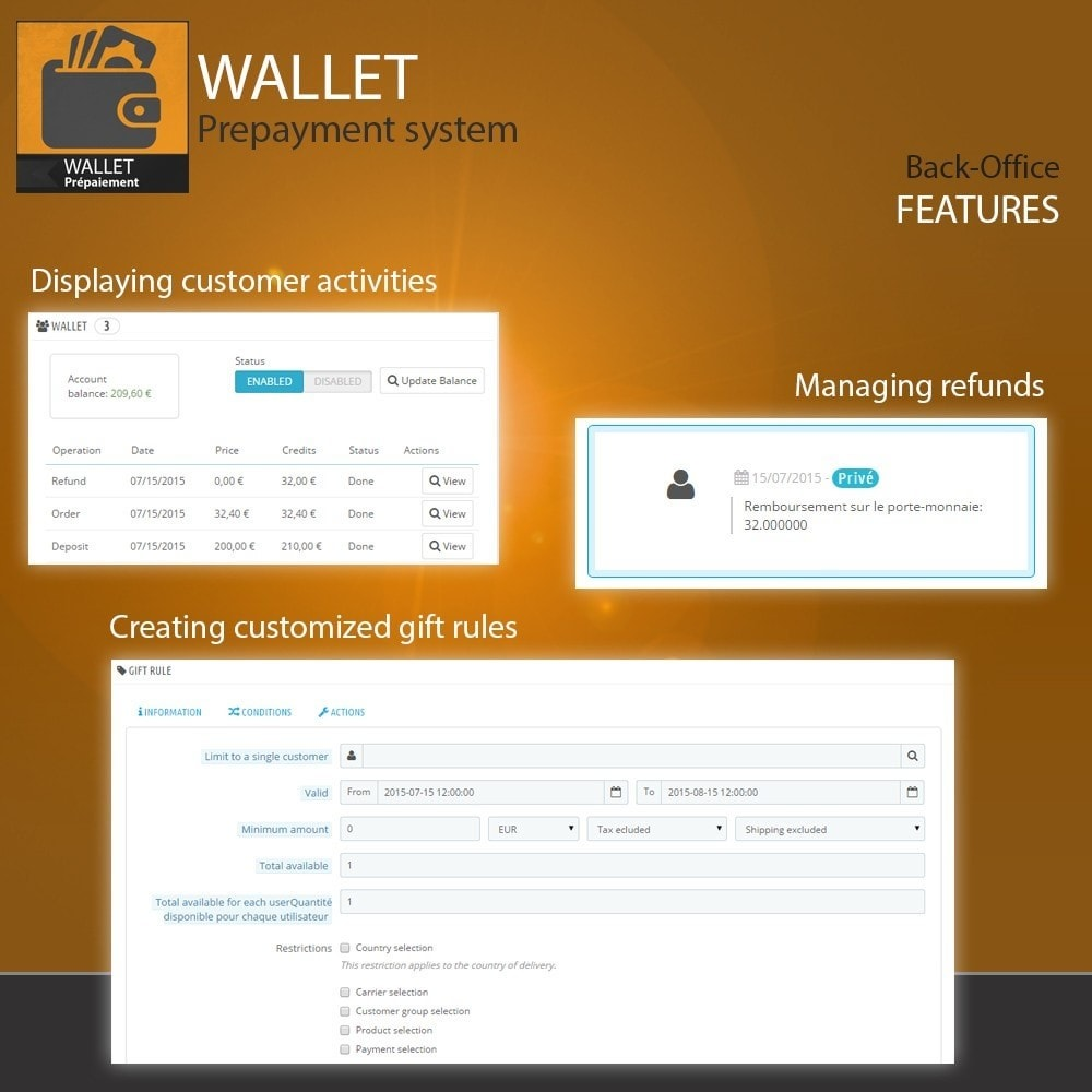 module - Payment by Card or Wallet - Wallet - Prepayment with cash back system - 6