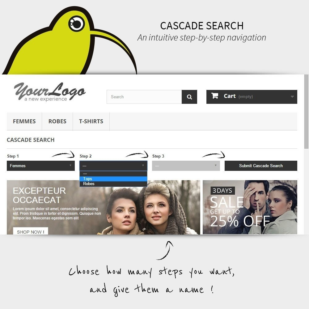 module - Búsquedas y Filtros - Search step-by-step | Cascade Search - 1