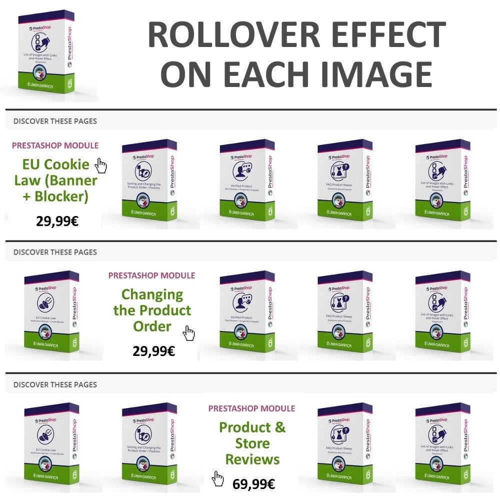 module - Blocchi, Schede & Banner - Block of Images with Rollover Effect - Responsive - 4