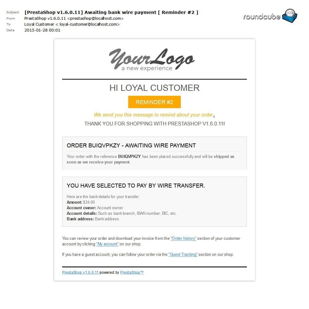 module - Autres moyens de paiement - Unpaid Order Reminder - 6
