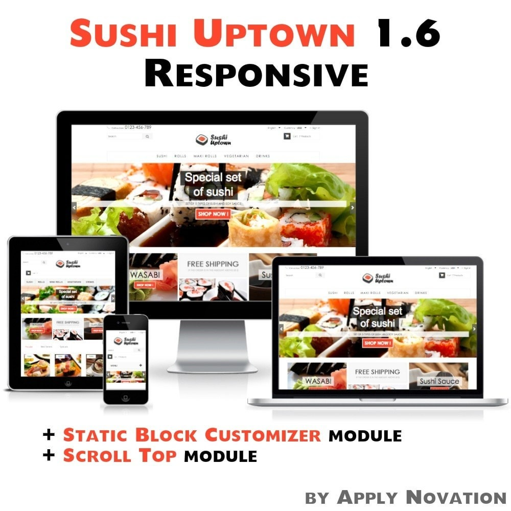 theme - Alimentos & Restaurantes - Sushi Uptown 1.6 Responsive - 1