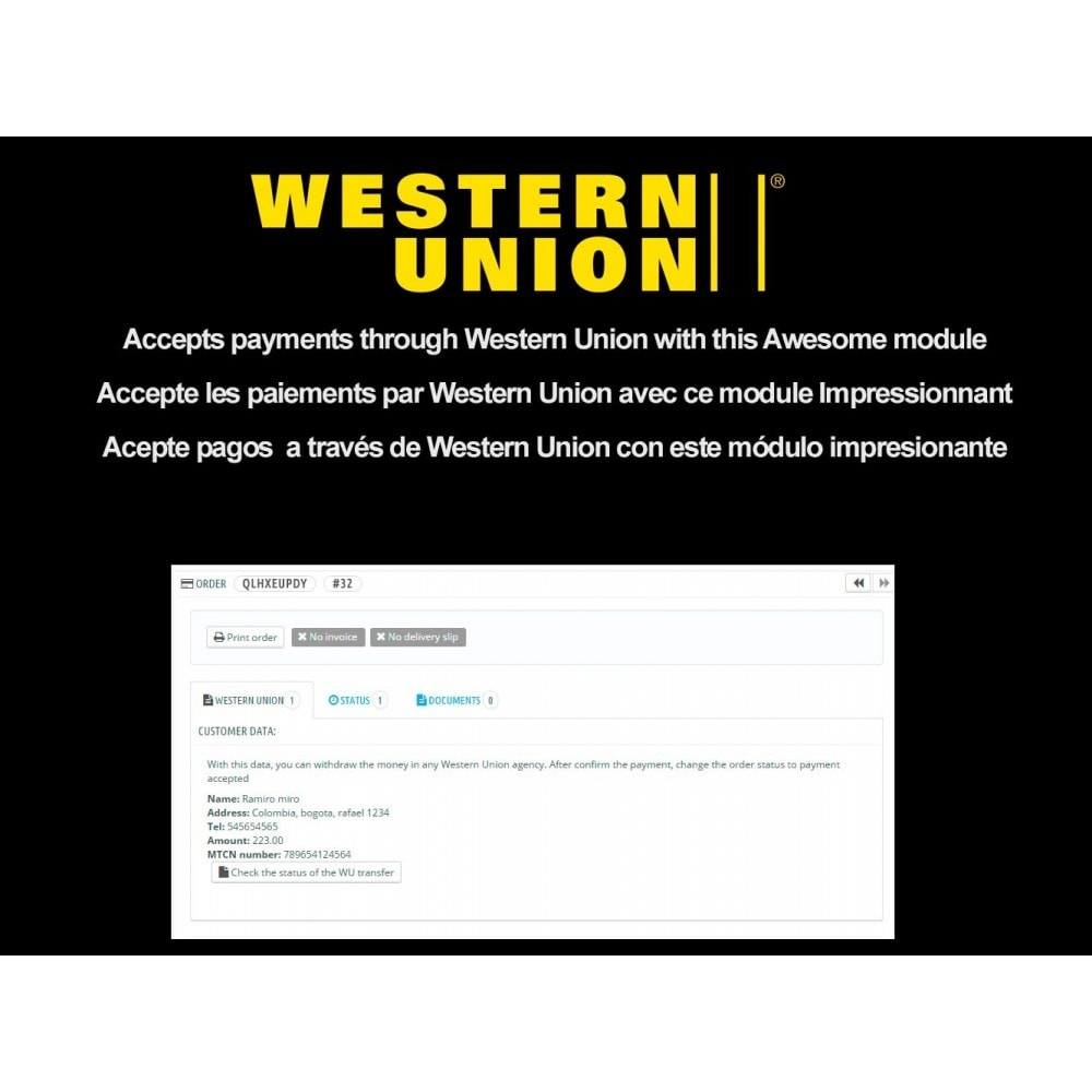 western union payment method
