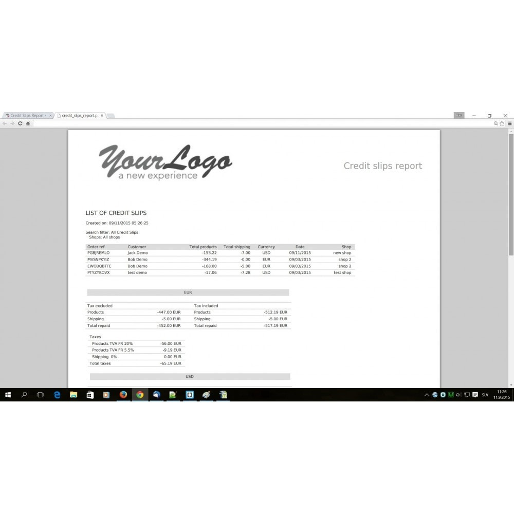 module - Księgowość & Fakturowania - Credit Slips advanced search, report & export - 5