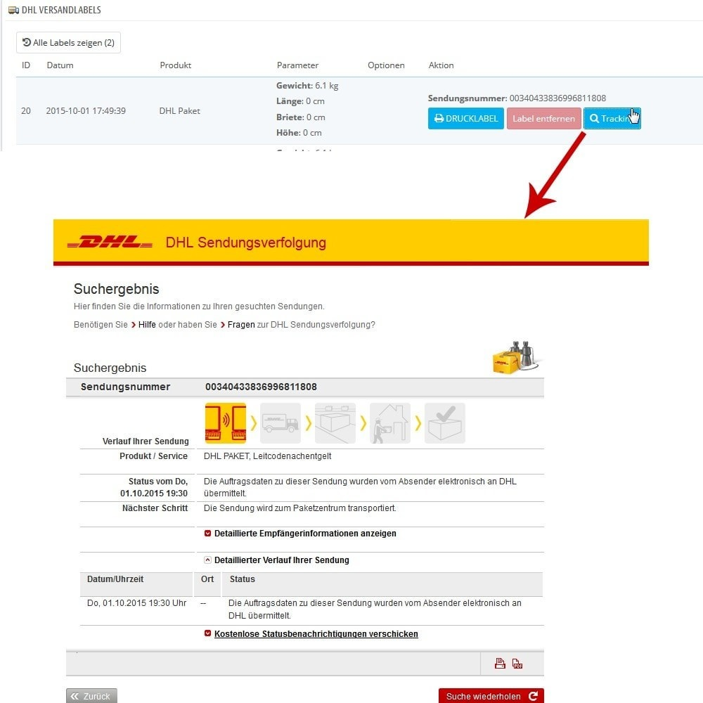 module - Transporteurs - DHL Business Portal Connector - 11