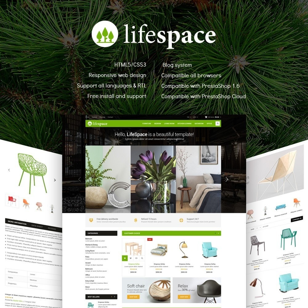 theme - Huis & Buitenleven - LifeSpace - Furniture Store Responsive PrestaShop - 1