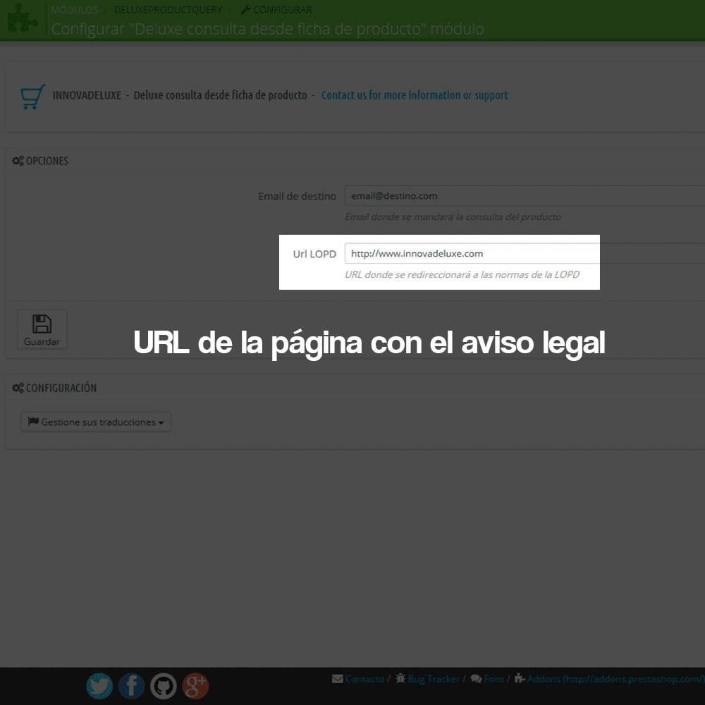 module - Marco Legal (Ley Europea) - Formulario de contacto desde Ficha de Producto - 3