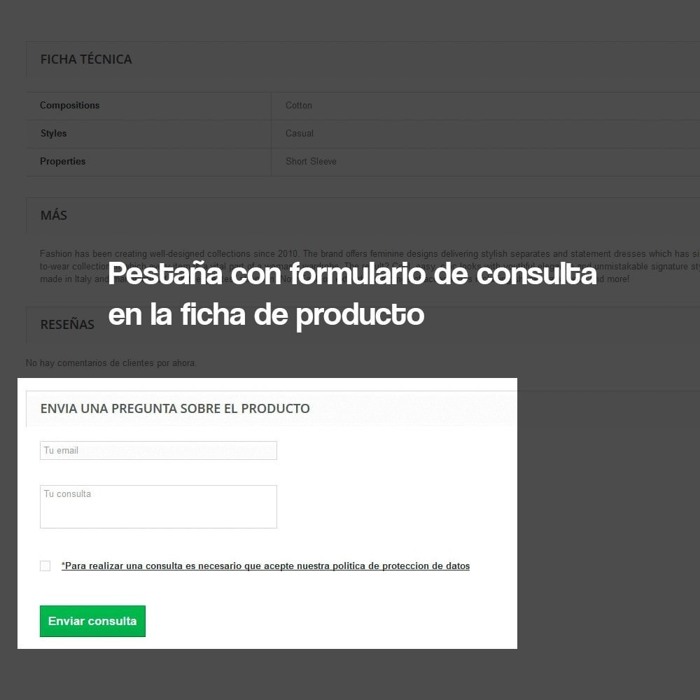 module - Marco Legal (Ley Europea) - Formulario de contacto desde Ficha de Producto - 4