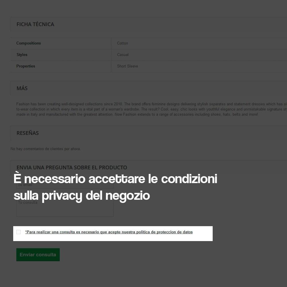 module - Legale (Legge Europea) - Modulo di contatto dalla scheda prodotto - 5