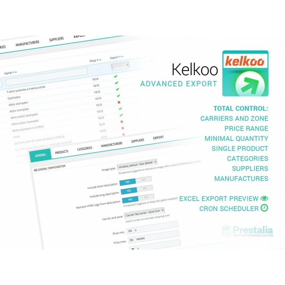 module - Comparateurs de prix - Kelkoo - Export + Advanced Filters - 1