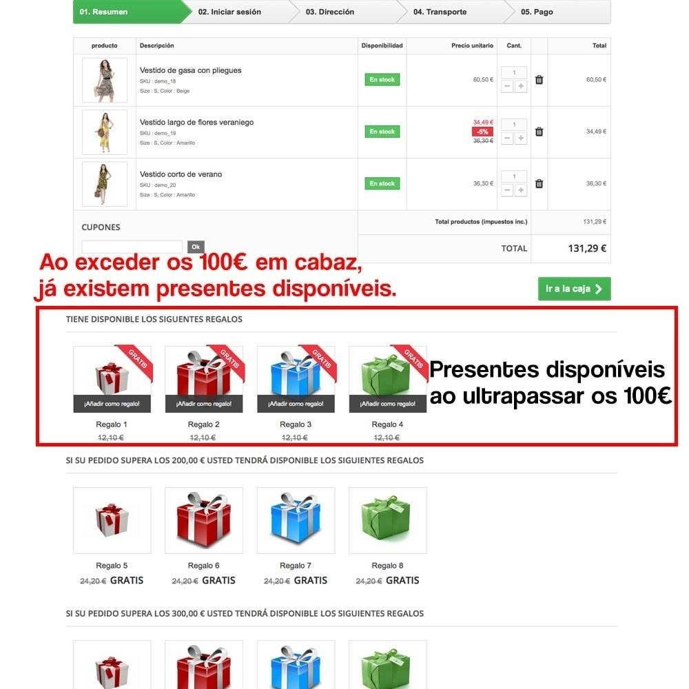 module - Promoções & Brindes - Gifts in shopping carts to increase order price - 11
