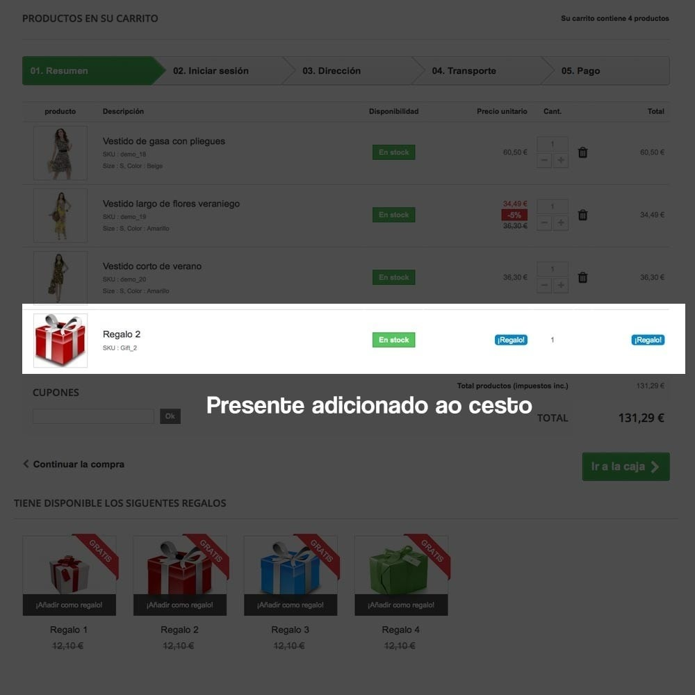 module - Promoções & Brindes - Gifts in shopping carts to increase order price - 12