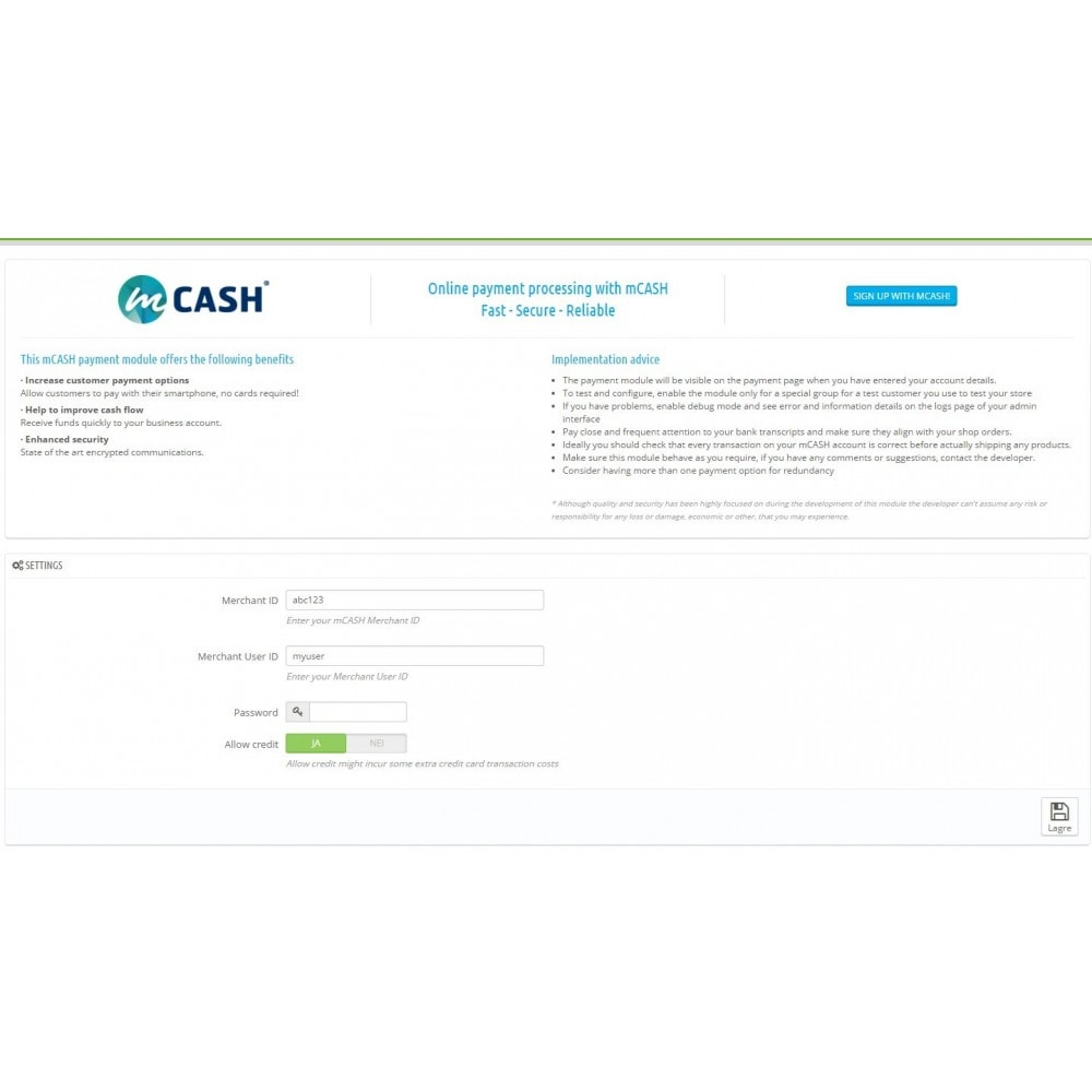 module - Other Payment Methods - mCASH mobile payment - 1