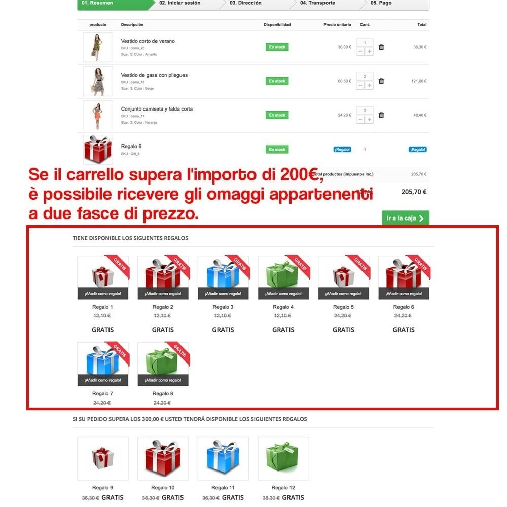 module - Promozioni & Regali - Gifts in shopping carts to increase order price - 14