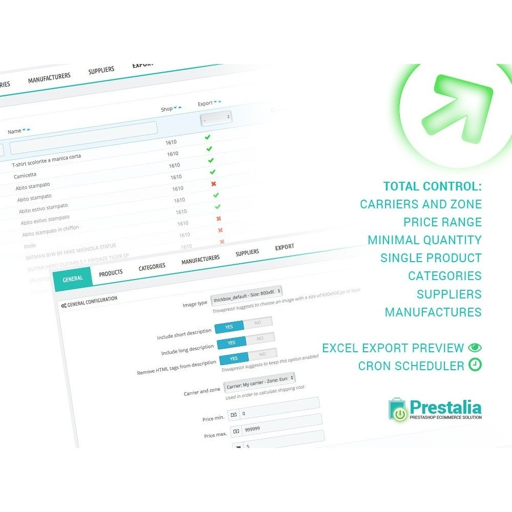 module - Import & Export de données - Exportation TrovaPrezzi avec filtres avancés - 2